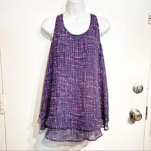 Lane Bryant Plus Size Purple Printed Layered Top